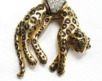 Reduced FLORENZA ORIGINAL Leopard Rhinestone Brooch, Articulated Tail, Personal Collection, Cat