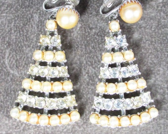 Rare Vintage Sarah Coventry Faux Pearl and Rhinestone Triangle Shaped Dangle Earrings