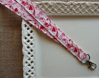 Fabric Lanyard - Hearts & Scrolls with Shimmers