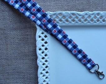 Fabric Lanyard - Sailboats & Anchors on Gingham