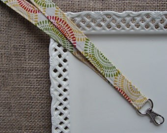 Fabric Lanyard - Sherbert Colored Medallions on Ivory