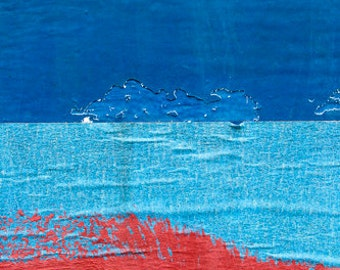 Blue and Red Abstract, paint, industrial, photograph, minimalist