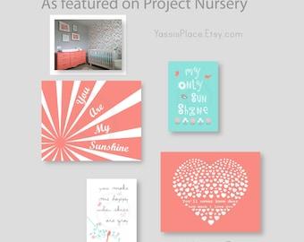 Baby Girl Nursery art, Coral Nursery Decor,You Are My Sunshine, Coral and aqua nursery flower art heart print  baby gift by YassisPlace 041