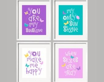 Butterfly Art, Baby Girl Room Decor, Butterfly Nursery Decor, Purple and Teal Nursery, You Are My Sunshine butterfly baby shower gift 060
