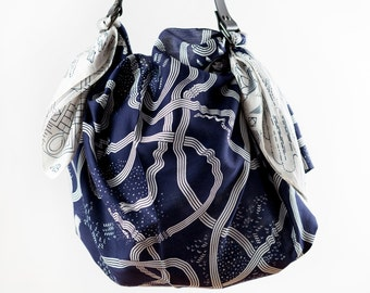The Hida Express furoshiki bag & black leather strap set