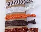Cleveland Browns Hair Ties Orange and Brown Chevron Glitter Ruffle Chevron elastic Yoga Bands