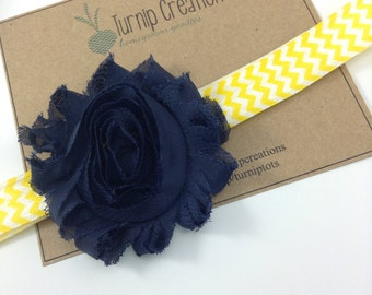 Navy Blue Shabby Flower Headband Yellow Chevron Headband Newborn Headband Toddler Headband Girls Headband