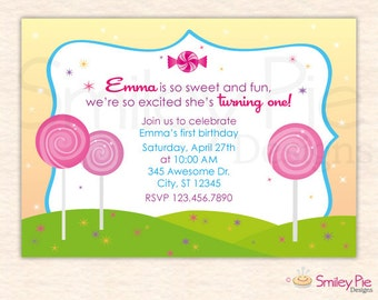 Candy and Sweets Birthday Invitation
