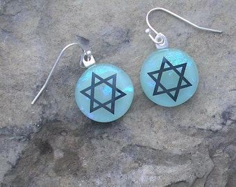 Star of David Earrings Dichroic Fused Glass Judaica Jewelry