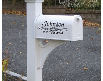 "Vinyl Mailbox Lettering Decoration Decal Sticker X2 For Each Side, Size: 5.5"" tall X 11"" wide"