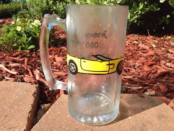 Corvette car painted beer mug