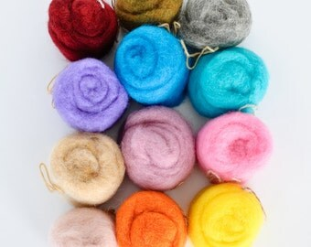 Wool for Felting, 5.92 oz (168 grams) Pack, Wool Roving / Carded Batt, 12 colors, FREE Shipping Worldwide