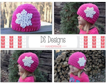 CROCHET PATTERN: Snowflake Beanie Crochet Hat, Crochet Winter Cap, Girls Beanie Pattern, Crochet Baby Hat Pattern, Snowflake Crochet Pattern