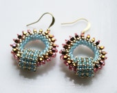 Romantic Boho Chic circle Hoops earring tiny seed beads Toho with Swarovski, finished with gold plated hooks.