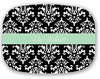 Monogram Platter - Personalized Melamine Platter with Monogram - Damask - Hostess Gift - Bridal Shower Gift - Choose your Colors