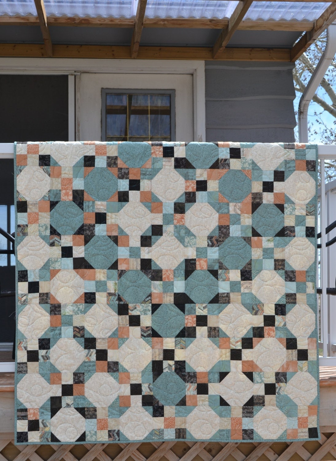 Patchwork Quilt In Peach Turquoise Sweet Serenade By Basic