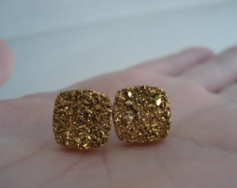 Gold Natural Druzy Agate Geode Crystal Titanium Stud Pierced Earrings Hip to be Square