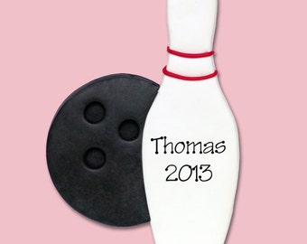 Bowling Pin Personalized Christmas Ornament - Handmade POLYMER CLAY - MATTE Finish