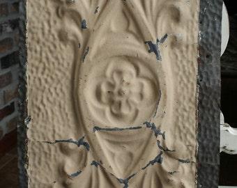 """Genuine Antique Ceiling Tile -- 12"""" x 12"""" -- Butterscotch Colored Paint -- Unique Design"""