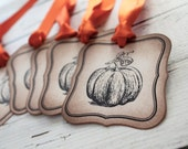 Vintage Inspired Tags -  Pumpkin - Set of 5 - You choose ribbon color