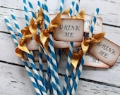 RESERVED for Allison - DRINK ME  Barber Pole Party Straws and Tags - Mix of all colors - Rush Nov 2