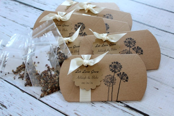 Personalized Wildflower Seeds Pillow Box Favor - Dandelion - You Choose Ribbon Color