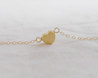 Je T ' aime Sole heart (necklace) - Small 14k gold plated puffed heart on 14k Gold-Filled