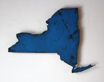 "20"" wide New York map metal wall art - choose your color - USA art state map wall art NY wall decor - new york city buffalo syracuse albany"