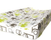 Changing pad cover GREEN GRAY TRACTORS contoured pad- green gray change mat cover- baby boy bedding- baby fitted slipcover- tractors change