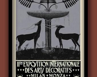 Art Deco Deer Poster. 1920s print. Exhibition poster. A2 size . Stamp art print Art Deco prints . Italian posters. Art Deco wall art