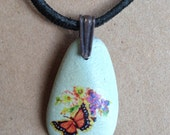 Monarch Butterfly Blue River Rock Handmade Necklace with Vintage Yellow Purple Flowers, Black Suede Cord and Sterling Silver Clasp and Bail