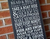 Custom personalized RULES sign, wooden sign in Black and White by Dressingroom5
