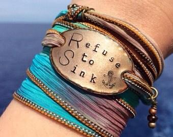 Silk wrap bracelet, Refuse to Sink, nautical jewelry, anchor, wrap bracelet, encouraging gift, strength, best friend gift