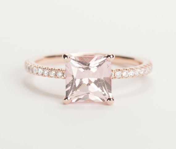 Certified Peach Pink Champagne Square Princess Sapphire