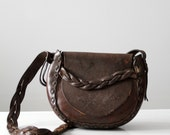 1970s leather purse,  tooled leather hippie bag