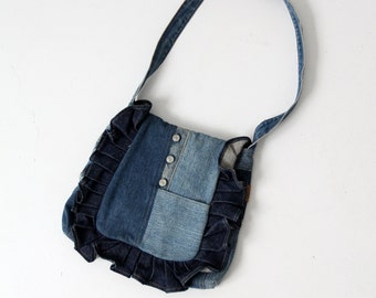 1970s patchwork denim hippie purse,  customed Wrangler bag