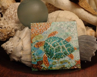 """Sea Journey, A Mother's Heart OOAK Original 4"""" Square painting, Sea Turtle Underwater View  Small space art, Tropical  earthtones beach art"""