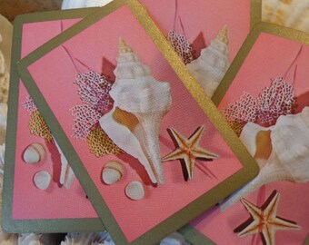 Pretty in Pink Mid Century BEACH Seashell Playing Cards, 4, Perfect for Beach/ Wedding tablescape, placecards, gift tags, Baby showers