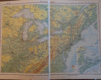 Great for Decoupage, Crafts, Art HUGE XL World Physical Maps U PICK 1 Map (2 pages) Lovely Old Paper Mellow Hues, Countries World Regions