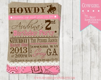 Cowgirl Pink - A Customizable Birthday Invitation - Cowgirl Party - Western Party