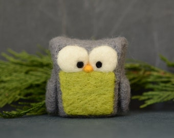 Needle Felted Owl, grey chartreuse neon green wool home whimsical decor ecofriendly