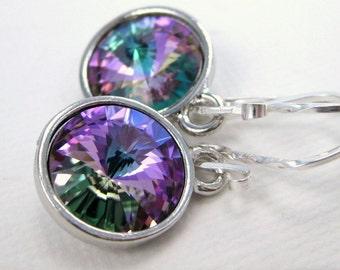 Purple Earrings, Swarovski crystal earrings, Prism drop earrings, Pink violet dangle earrings, Glass bead jewelry, Purple wedding