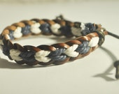Navy and White hemp cord and Brown leather braided bracelet