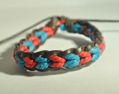 Red and Blue hemp cord and Brown leather braided bracelet
