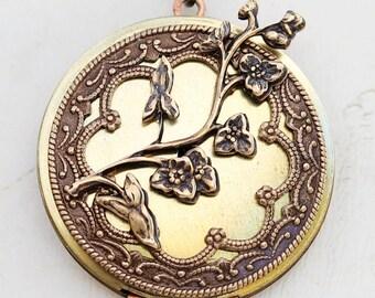 Cherry Blossom,Locket,Brass Locket,Antique Locket,Flower Locket,Flower,vintage locket,Wedding Necklace,bridesmaid necklace