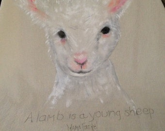 Another Barnyard Gang member.  A must for  your kitchen this young lamb comes hand painted on 100 % cotton.