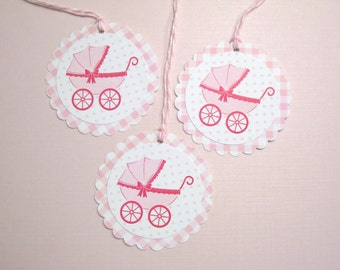 10 Pink White Baby Girl Carriage Stroller Tags - It's A Girl - Baby Shower Favors - Paper Tags -  Baby Buggy -Thank You Tags - Gift Tags