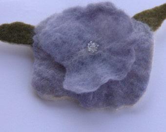 Handfelted pale blue beaded merino wool flower Brooch