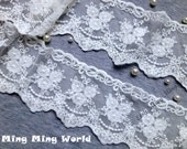Cotton Net Embroidered Lace Trim - 1.5 Yards Ivory Three Flower Lace Trim (L106)