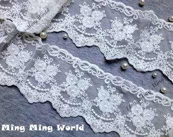 Cotton Net Embroidered Lace Trim - 2 Yards Ivory Three Flower Lace Trim (L106)